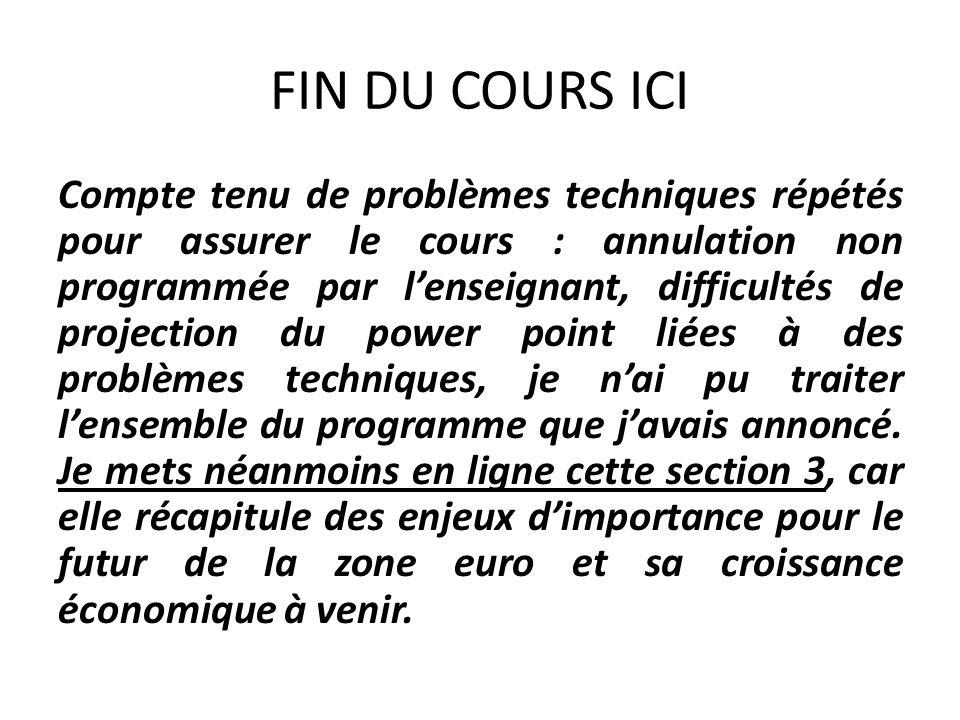FIN DU COURS ICI Compte tenu de problèmes techniques répétés pour assurer le cours : annulation non programmée par lenseignant, difficultés de project