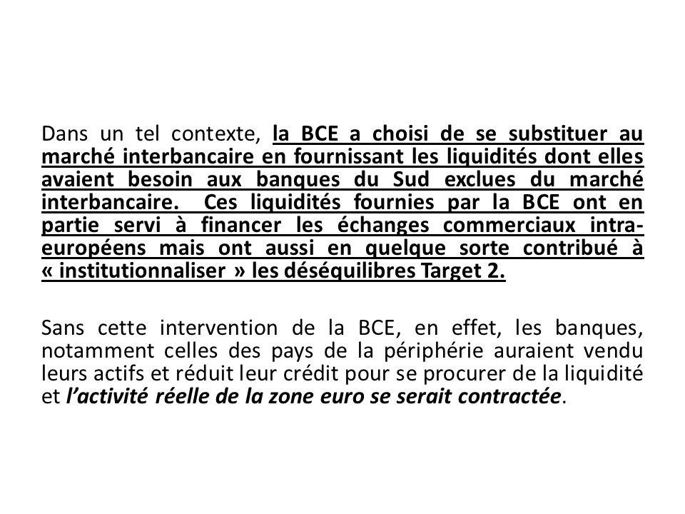 Dans un tel contexte, la BCE a choisi de se substituer au marché interbancaire en fournissant les liquidités dont elles avaient besoin aux banques du