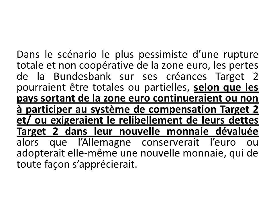 Dans le scénario le plus pessimiste dune rupture totale et non coopérative de la zone euro, les pertes de la Bundesbank sur ses créances Target 2 pour