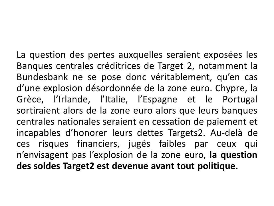 La question des pertes auxquelles seraient exposées les Banques centrales créditrices de Target 2, notamment la Bundesbank ne se pose donc véritableme