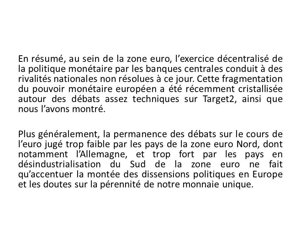 En résumé, au sein de la zone euro, lexercice décentralisé de la politique monétaire par les banques centrales conduit à des rivalités nationales non