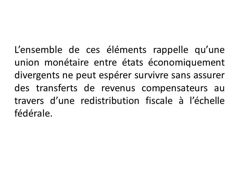 Lensemble de ces éléments rappelle quune union monétaire entre états économiquement divergents ne peut espérer survivre sans assurer des transferts de