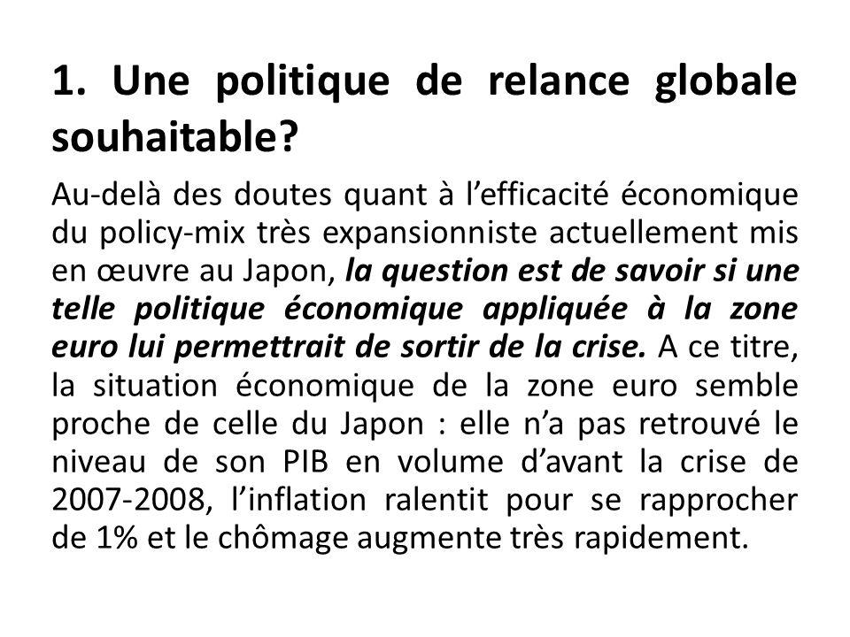 Au-delà des doutes quant à lefficacité économique du policy-mix très expansionniste actuellement mis en œuvre au Japon, la question est de savoir si u