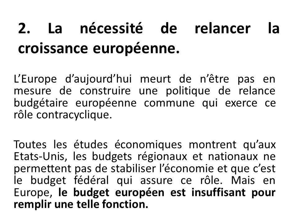 LEurope daujourdhui meurt de nêtre pas en mesure de construire une politique de relance budgétaire européenne commune qui exerce ce rôle contracycliqu