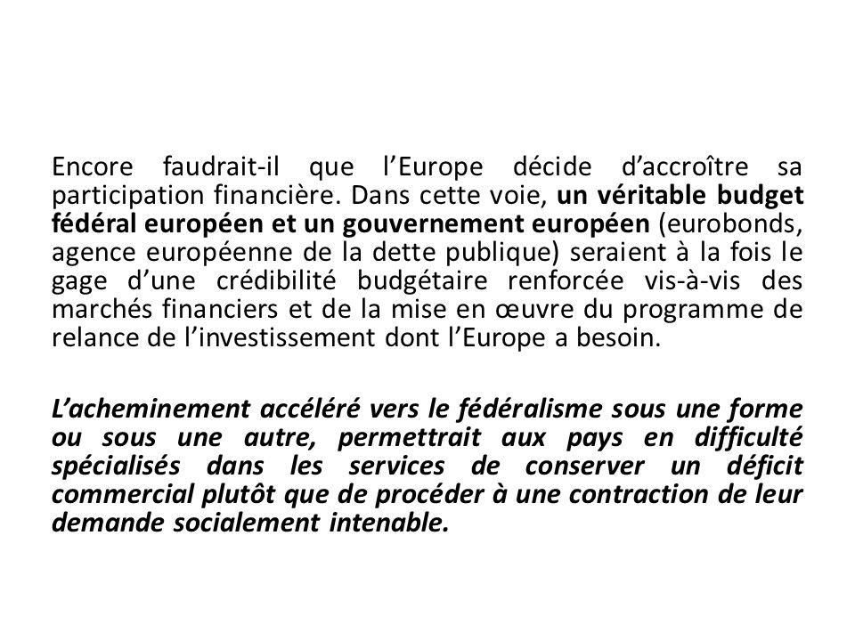 Encore faudrait-il que lEurope décide daccroître sa participation financière. Dans cette voie, un véritable budget fédéral européen et un gouvernement