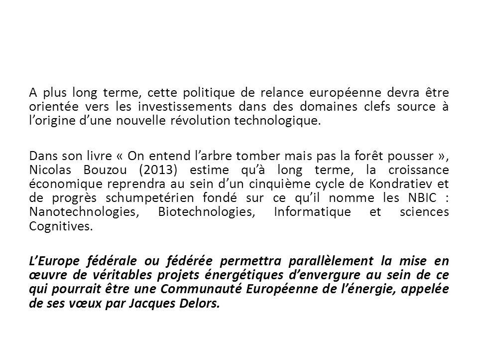 A plus long terme, cette politique de relance européenne devra être orientée vers les investissements dans des domaines clefs source à lorigine dune n
