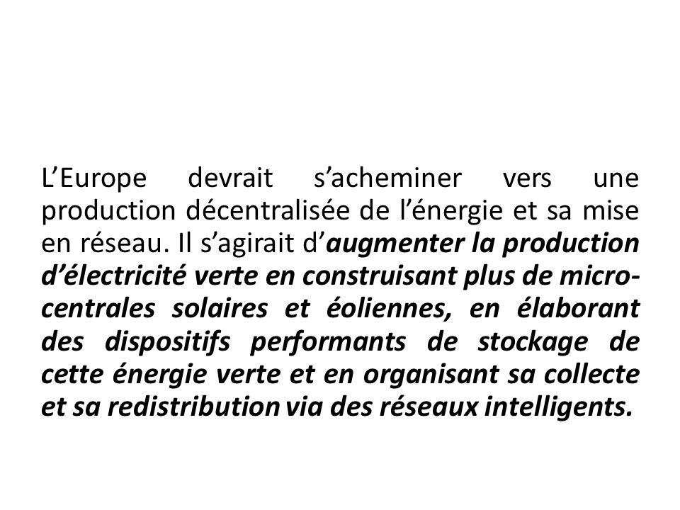 LEurope devrait sacheminer vers une production décentralisée de lénergie et sa mise en réseau. Il sagirait daugmenter la production délectricité verte