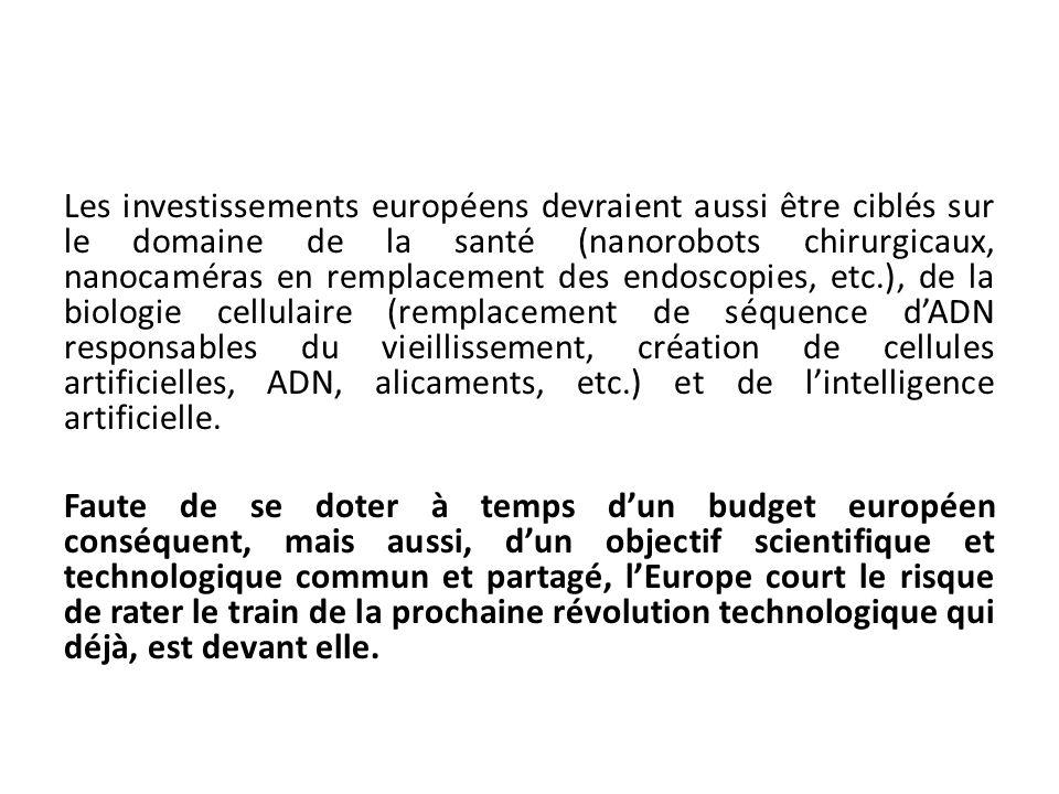 Les investissements européens devraient aussi être ciblés sur le domaine de la santé (nanorobots chirurgicaux, nanocaméras en remplacement des endosco