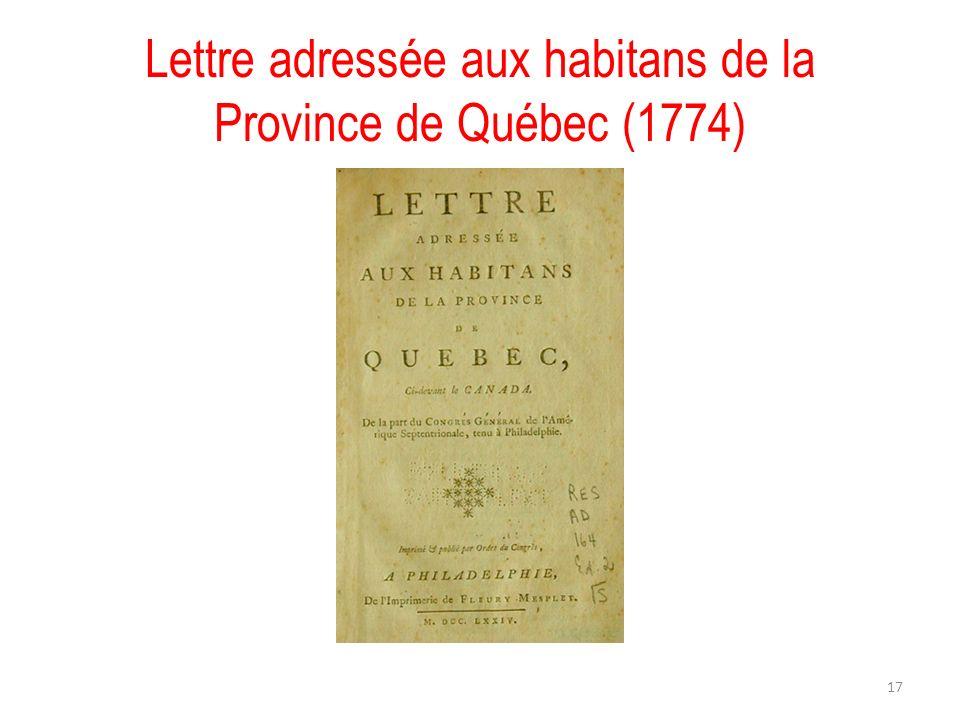 Lettre adressée aux habitans de la Province de Québec (1774) 17