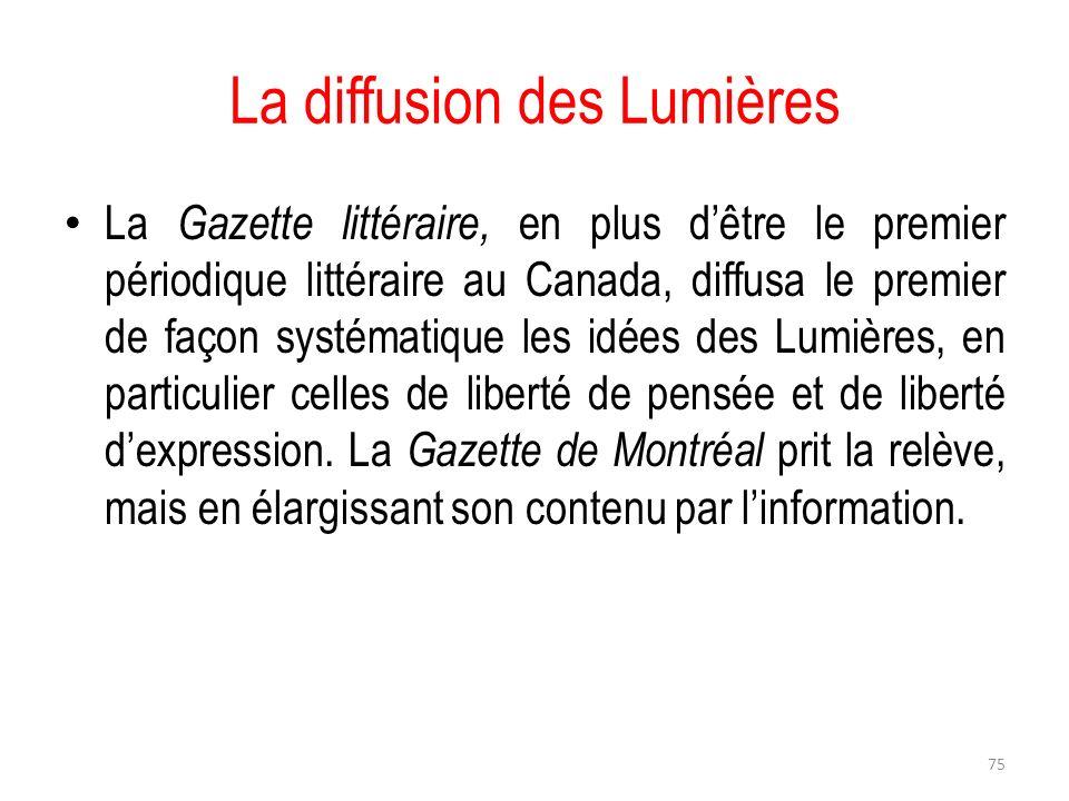 La diffusion des Lumières La Gazette littéraire, en plus dêtre le premier périodique littéraire au Canada, diffusa le premier de façon systématique le