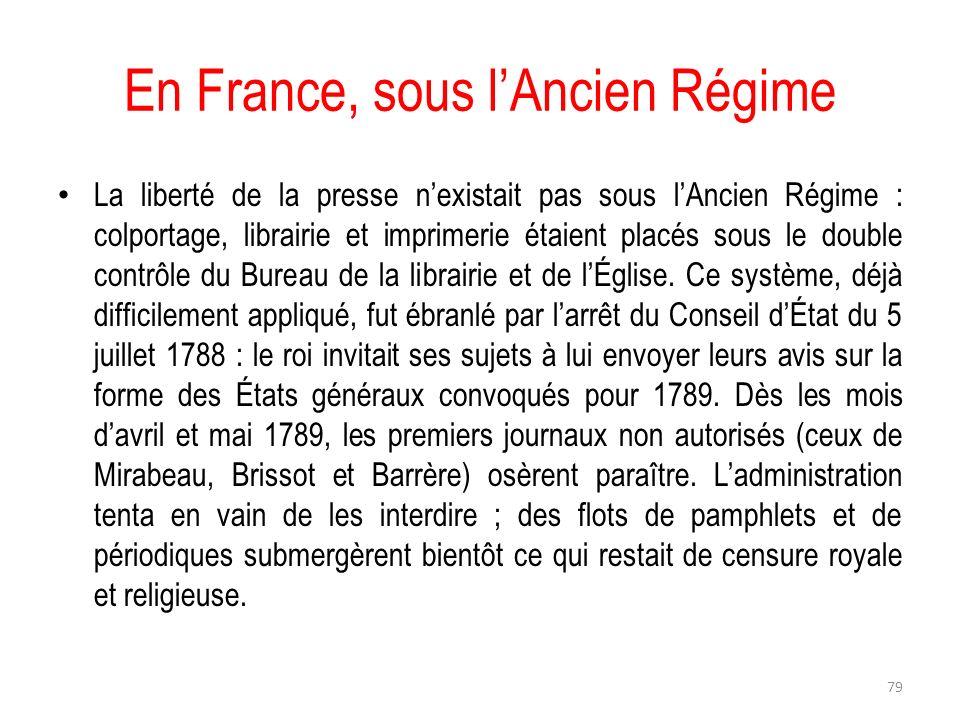 En France, sous lAncien Régime La liberté de la presse nexistait pas sous lAncien Régime : colportage, librairie et imprimerie étaient placés sous le