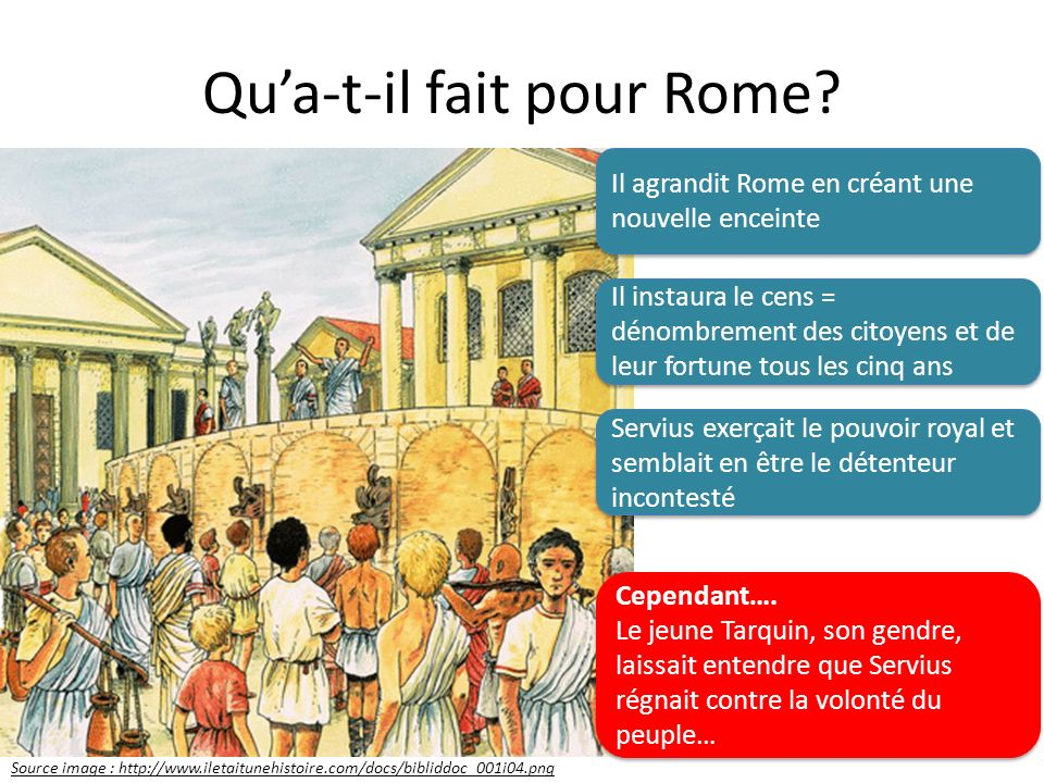 Qua-t-il fait pour Rome? Source image : http://www.iletaitunehistoire.com/docs/bibliddoc_001i04.png Il agrandit Rome en créant une nouvelle enceinte I