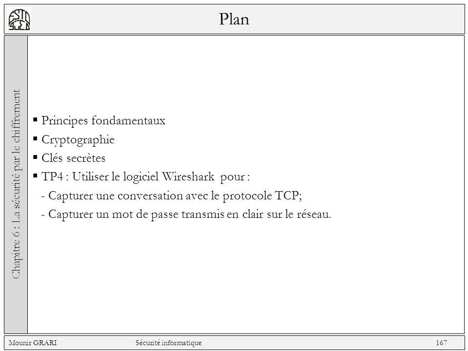 Plan Principes fondamentaux Cryptographie Clés secrètes TP4 : Utiliser le logiciel Wireshark pour : - Capturer une conversation avec le protocole TCP; - Capturer un mot de passe transmis en clair sur le réseau.