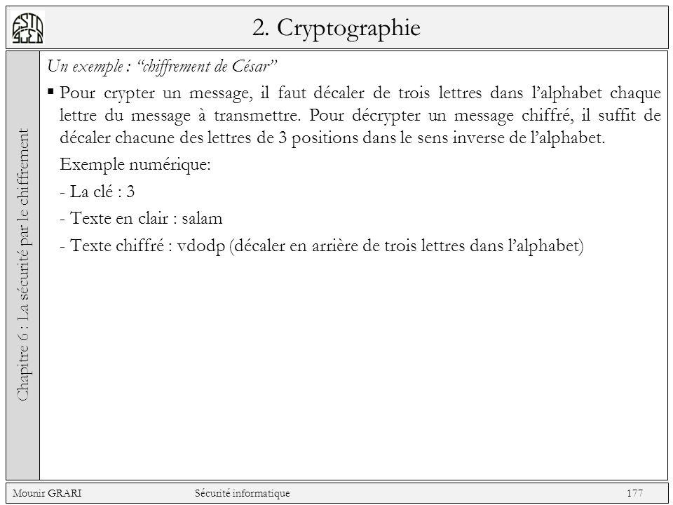 2. Cryptographie Un exemple : chiffrement de César Pour crypter un message, il faut décaler de trois lettres dans lalphabet chaque lettre du message à