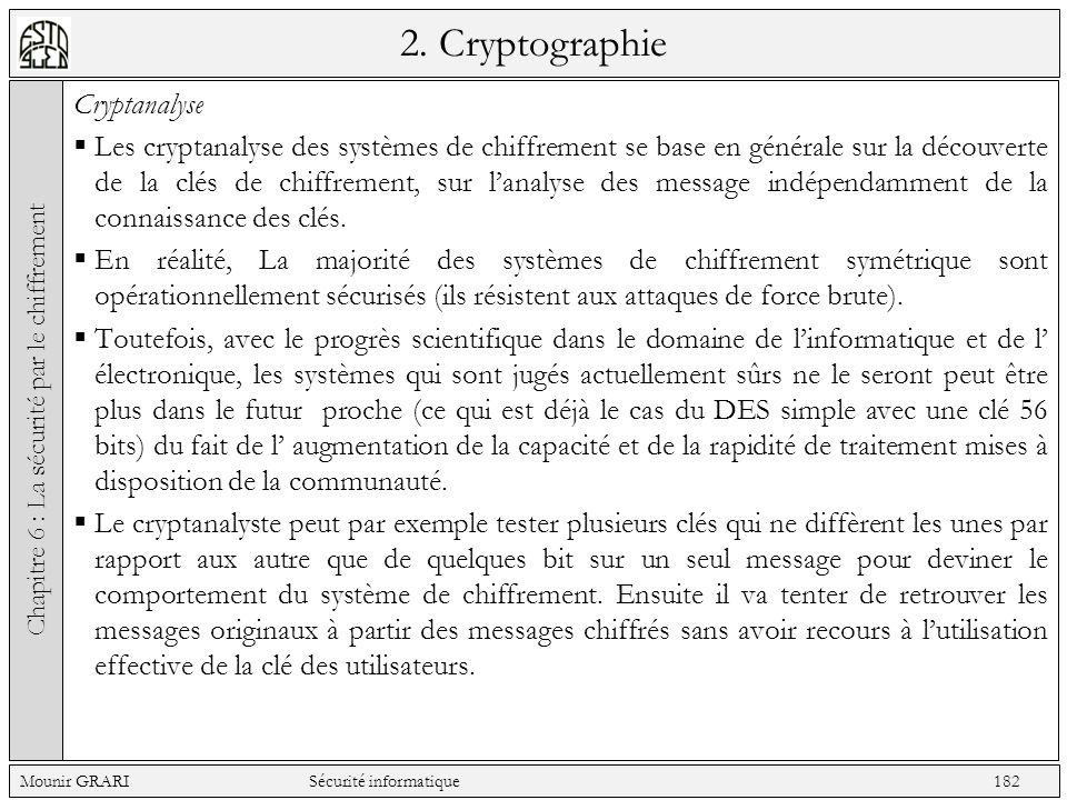 2. Cryptographie Cryptanalyse Les cryptanalyse des systèmes de chiffrement se base en générale sur la découverte de la clés de chiffrement, sur lanaly