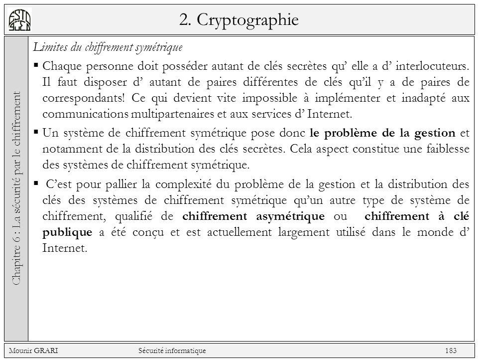 2. Cryptographie Limites du chiffrement symétrique Chaque personne doit posséder autant de clés secrètes qu elle a d interlocuteurs. Il faut disposer