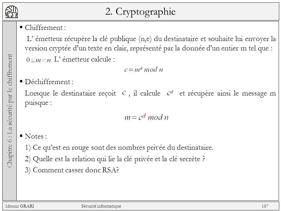 2. Cryptographie Chiffrement : L émetteur récupère la clé publique (n,e) du destinataire et souhaite lui envoyer la version cryptée d'un texte en clai
