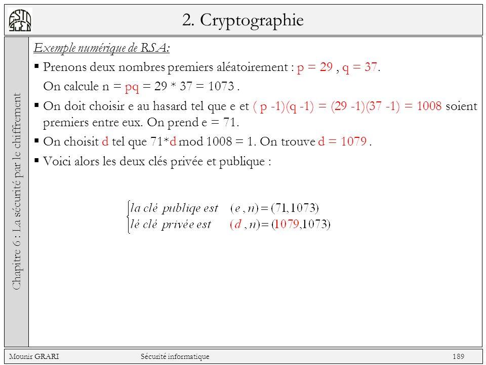 2. Cryptographie Exemple numérique de RSA: Prenons deux nombres premiers aléatoirement : p = 29, q = 37. On calcule n = pq = 29 * 37 = 1073. On doit c