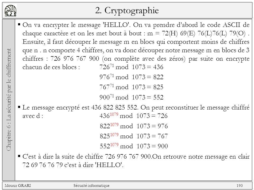 2. Cryptographie On va encrypter le message 'HELLO'. On va prendre dabord le code ASCII de chaque caractère et on les met bout à bout : m = 72(H) 69(E