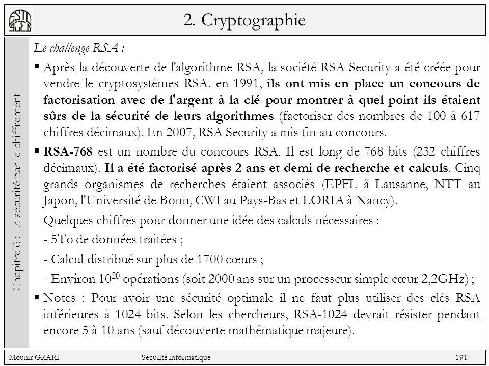 2. Cryptographie Le challenge RSA : Après la découverte de l'algorithme RSA, la société RSA Security a été créée pour vendre le cryptosystèmes RSA. en