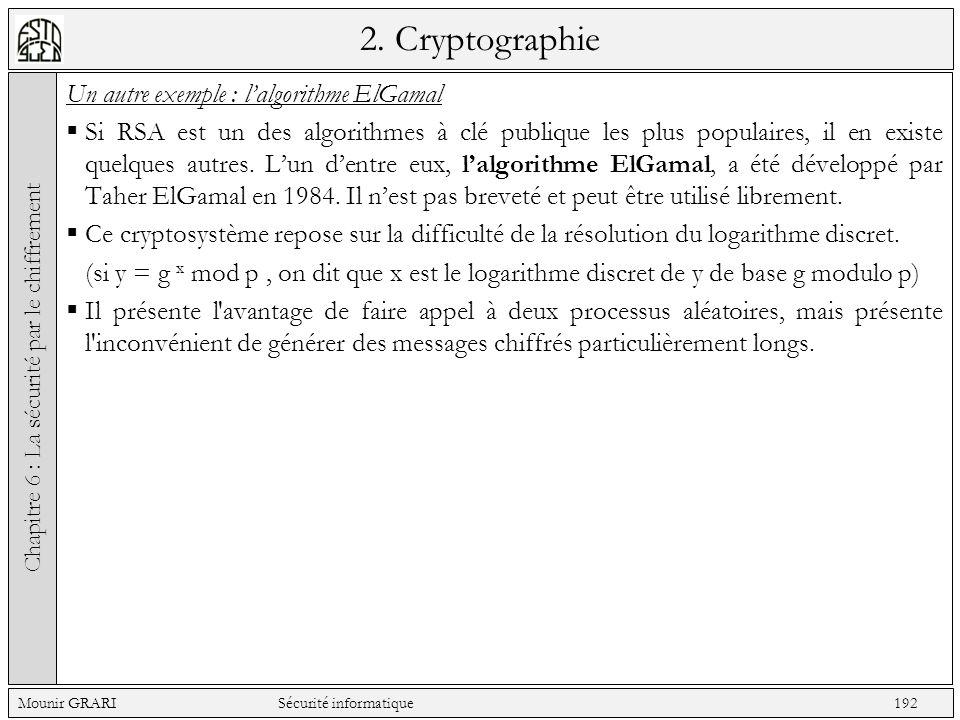 2. Cryptographie Un autre exemple : lalgorithme ElGamal Si RSA est un des algorithmes à clé publique les plus populaires, il en existe quelques autres