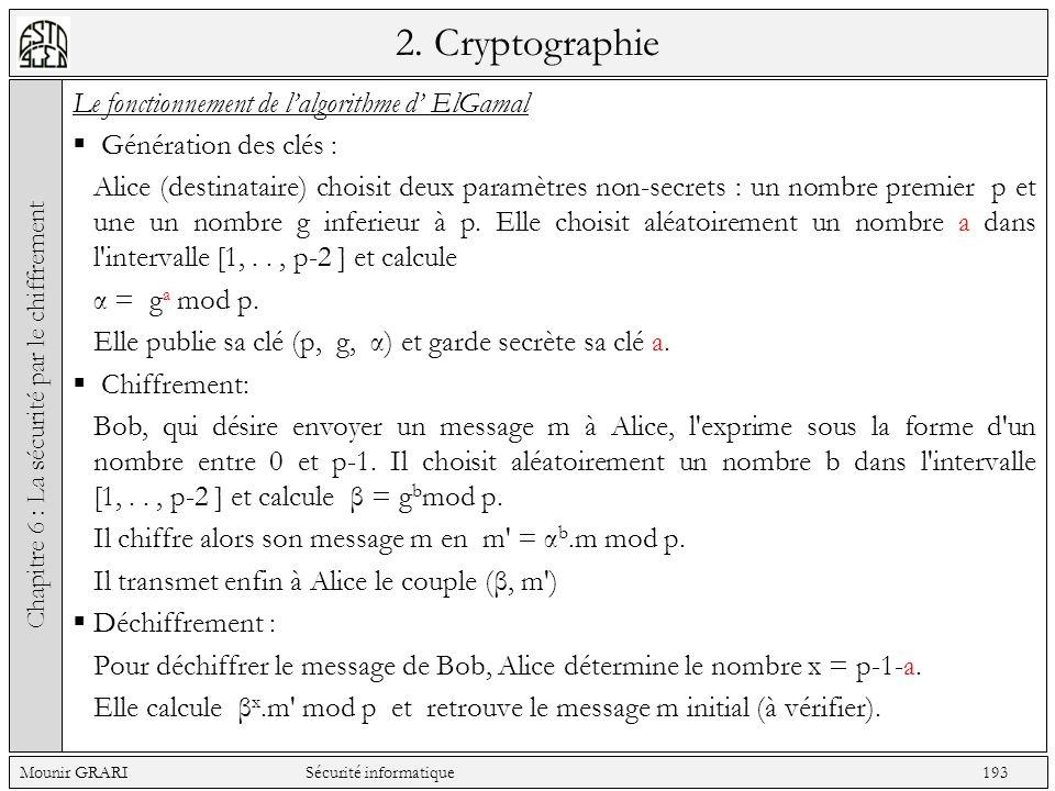 2. Cryptographie Le fonctionnement de lalgorithme d ElGamal Génération des clés : Alice (destinataire) choisit deux paramètres non-secrets : un nombre