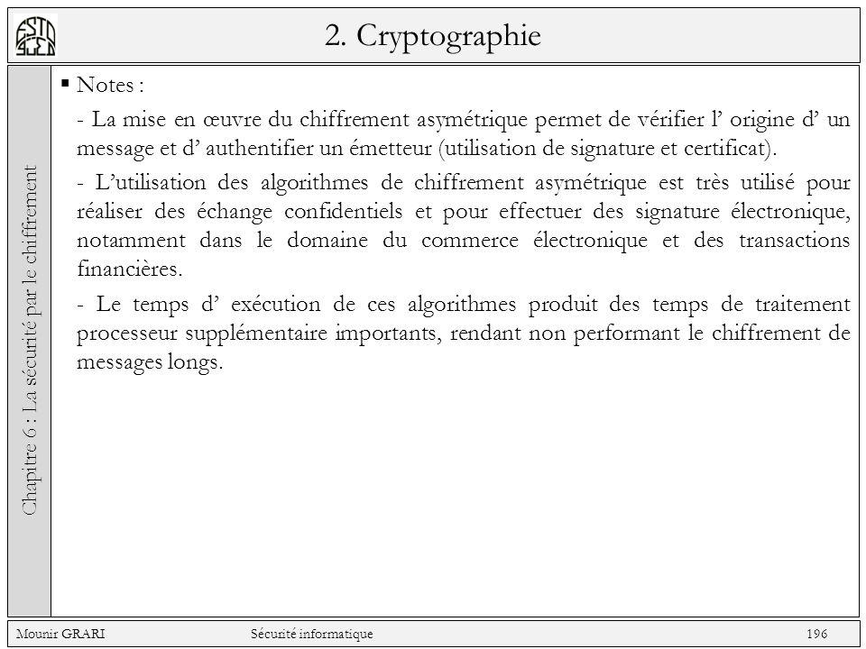 2. Cryptographie Notes : - La mise en œuvre du chiffrement asymétrique permet de vérifier l origine d un message et d authentifier un émetteur (utilis