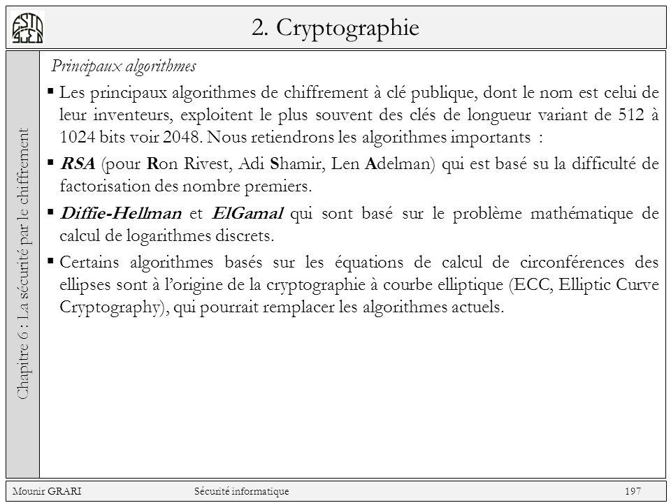 2. Cryptographie Principaux algorithmes Les principaux algorithmes de chiffrement à clé publique, dont le nom est celui de leur inventeurs, exploitent