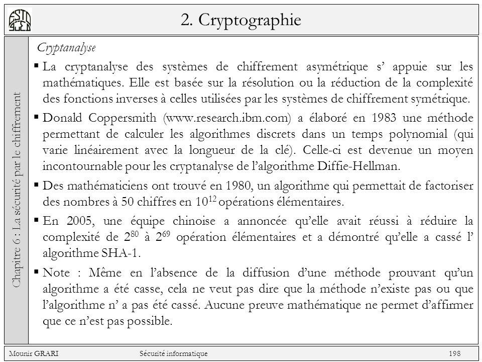 2. Cryptographie Cryptanalyse La cryptanalyse des systèmes de chiffrement asymétrique s appuie sur les mathématiques. Elle est basée sur la résolution