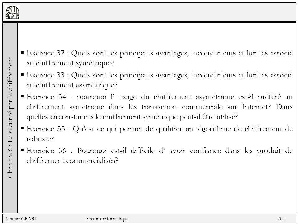 Exercice 32 : Quels sont les principaux avantages, inconvénients et limites associé au chiffrement symétrique? Exercice 33 : Quels sont les principaux