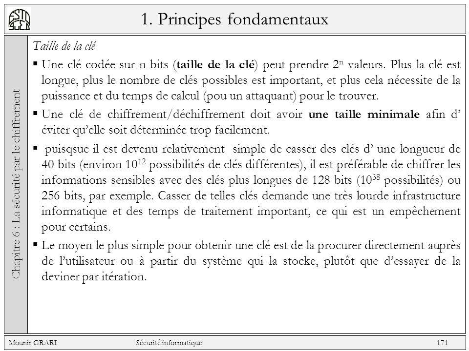 1. Principes fondamentaux Taille de la clé Une clé codée sur n bits (taille de la clé) peut prendre 2 n valeurs. Plus la clé est longue, plus le nombr