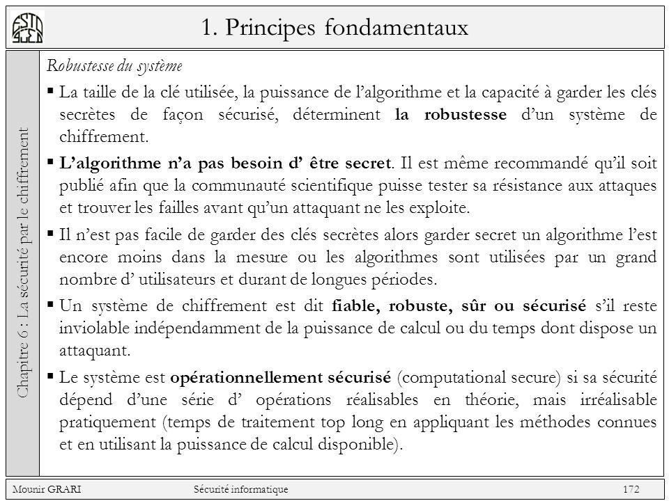 1. Principes fondamentaux Robustesse du système La taille de la clé utilisée, la puissance de lalgorithme et la capacité à garder les clés secrètes de