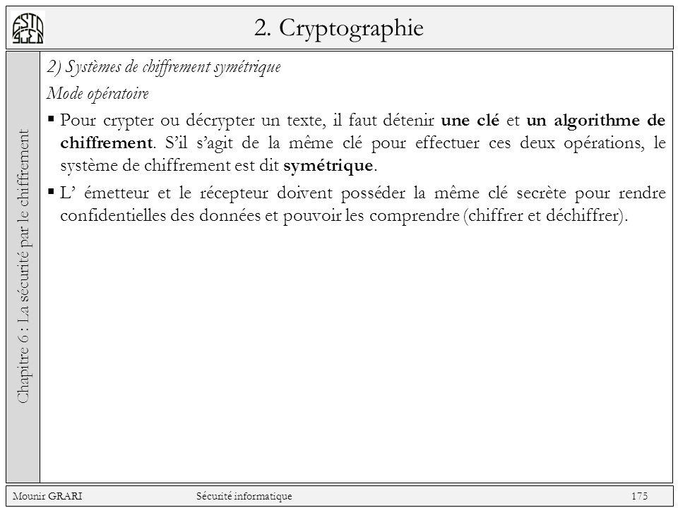 2. Cryptographie 2) Systèmes de chiffrement symétrique Mode opératoire Pour crypter ou décrypter un texte, il faut détenir une clé et un algorithme de