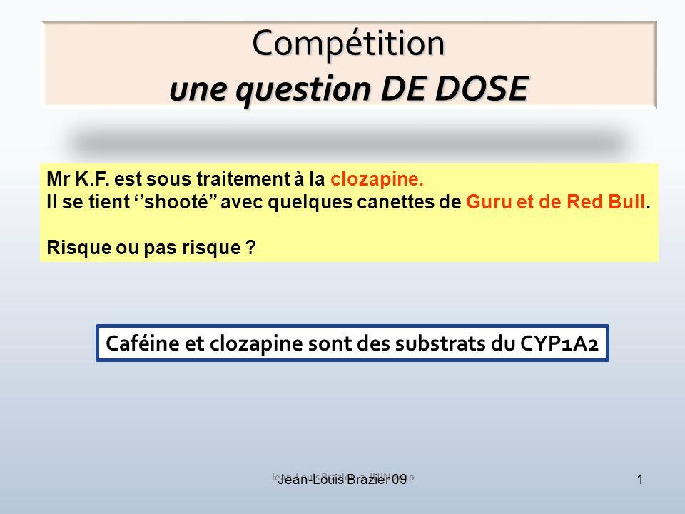 Jean-Louis Brazier - 2 JUIN 2010 Jean-Louis Brazier 091 Compétition une question DE DOSE Mr K.F. est sous traitement à la clozapine. Il se tient shoot