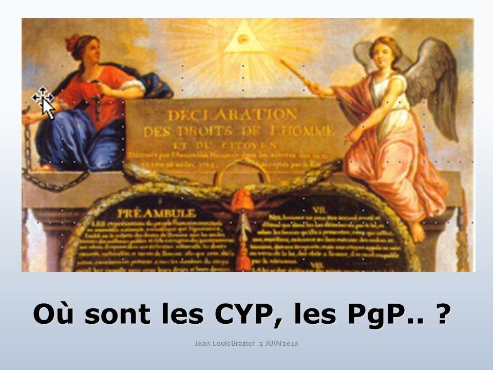 Où sont les CYP, les PgP.. ?