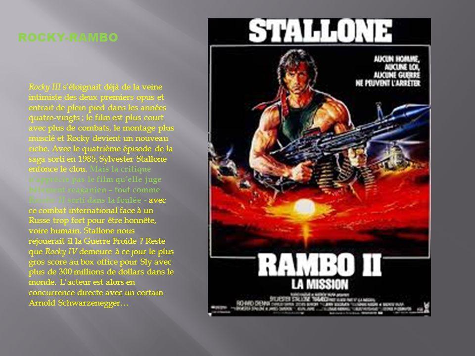 Rocky III séloignait déjà de la veine intimiste des deux premiers opus et entrait de plein pied dans les années quatre-vingts ; le film est plus court