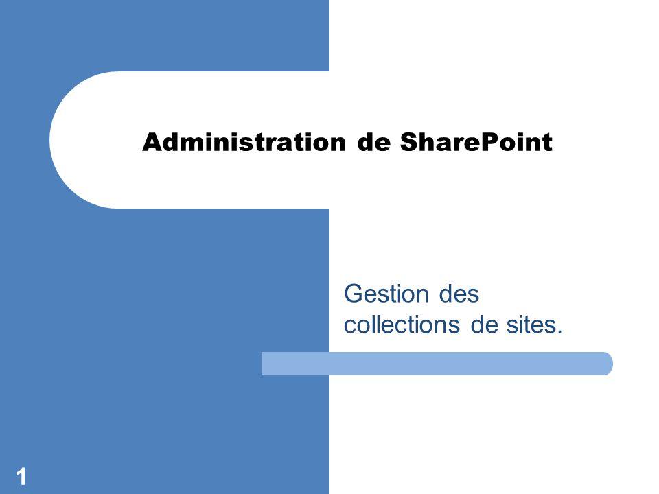 Gestion des collections de sites. 1 Administration de SharePoint