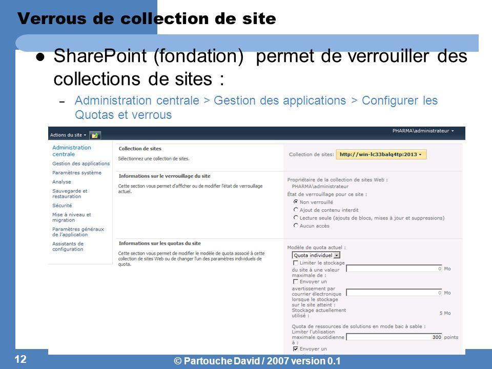 © Partouche David / 2007 version 0.1 Gestion de lespace de stockage Ladministrateur dune collection de site gère lespace de stockage à partir des pages dadministration du site Top Level.