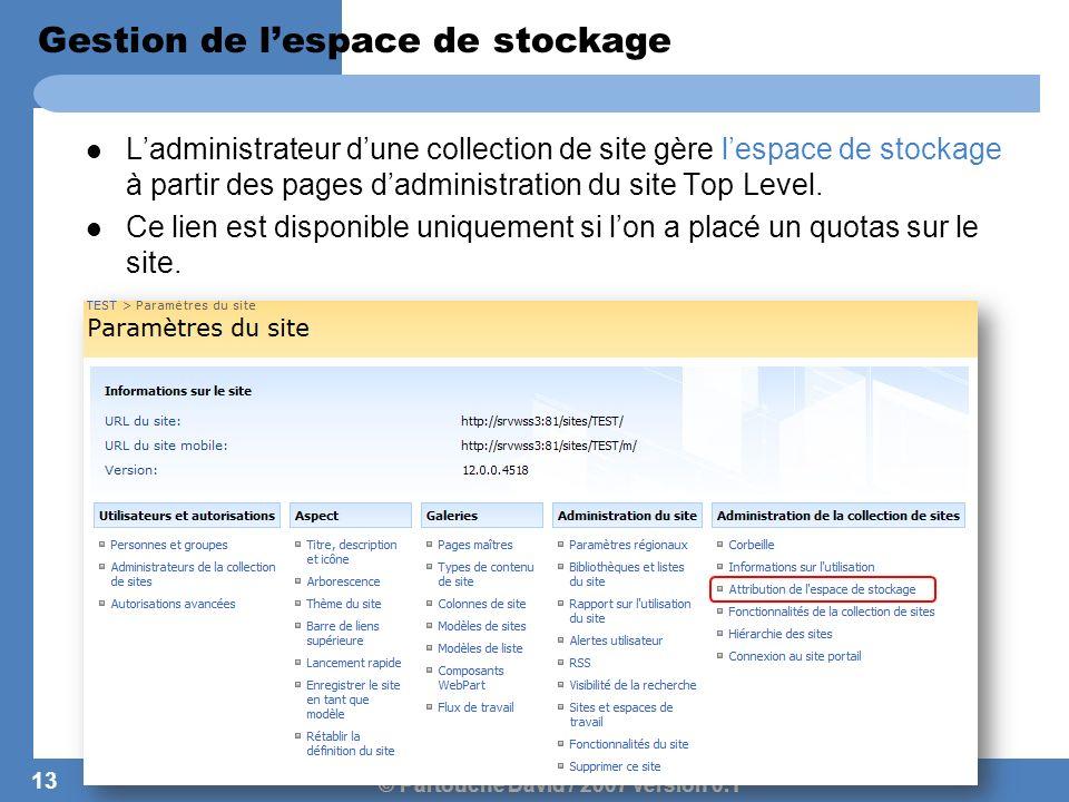 © Partouche David / 2007 version 0.1 Gestion de lespace de stockage Ladministrateur dune collection de site gère lespace de stockage à partir des page