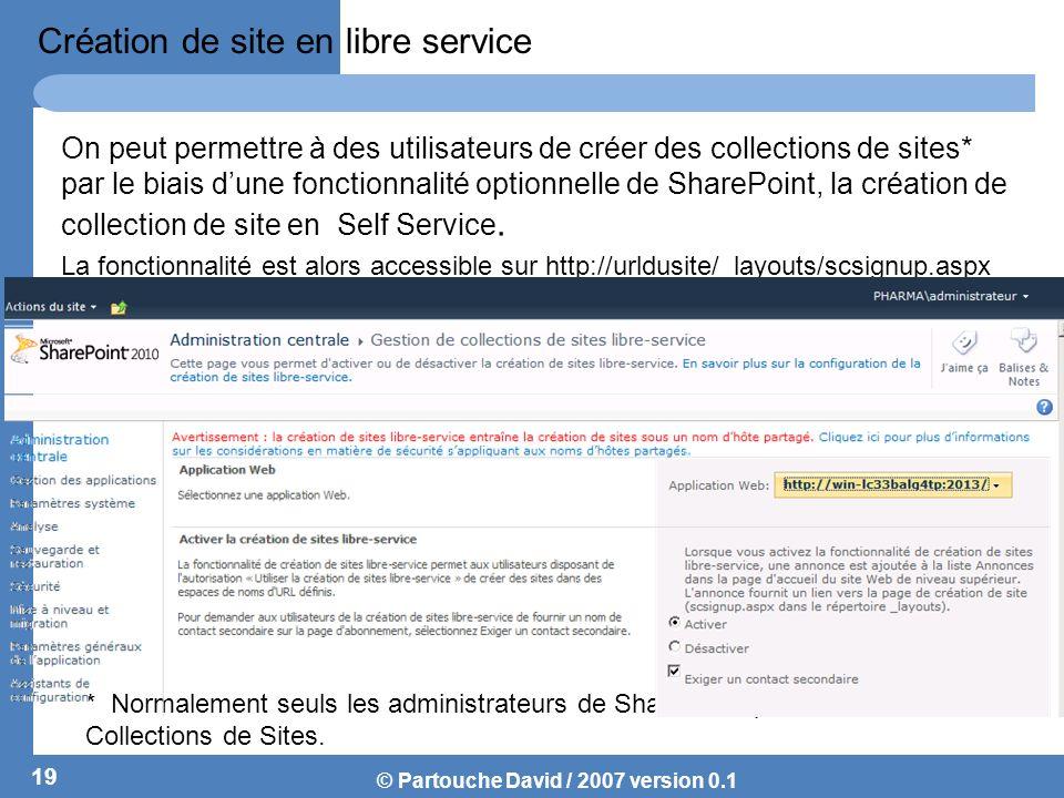 © Partouche David / 2007 version 0.1 Création de site en libre service On peut permettre à des utilisateurs de créer des collections de sites* par le