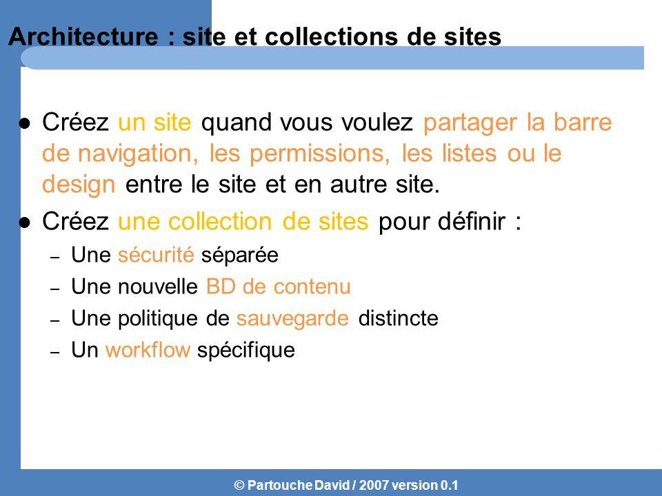 © Partouche David / 2007 version 0.1 Architecture : site et collections de sites Créez un site quand vous voulez partager la barre de navigation, les permissions, les listes ou le design entre le site et en autre site.
