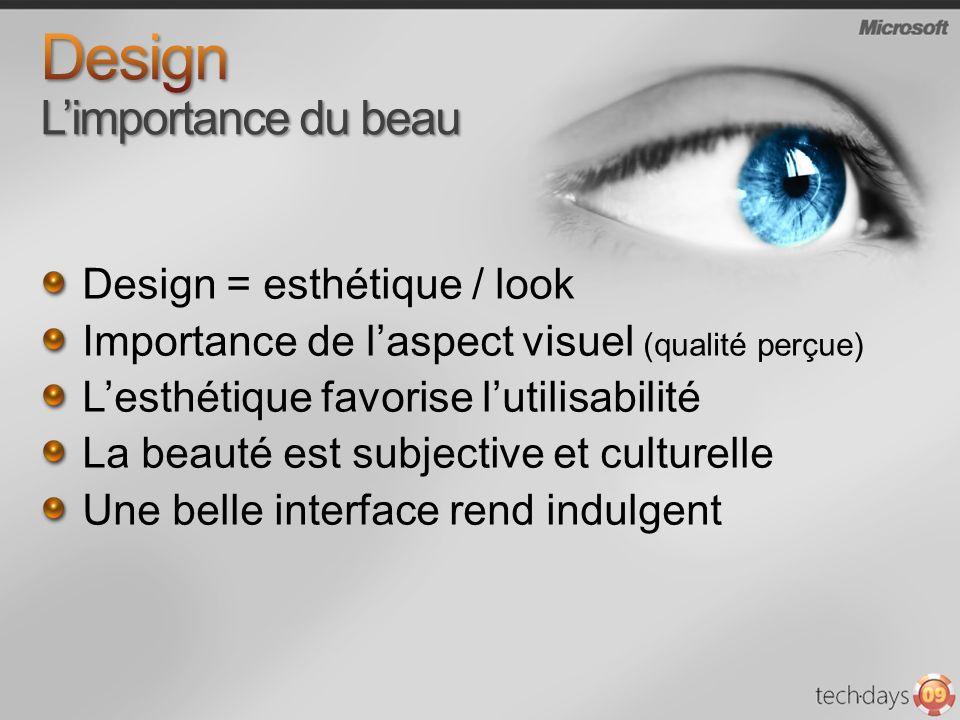 Design = esthétique / look Importance de laspect visuel (qualité perçue) Lesthétique favorise lutilisabilité La beauté est subjective et culturelle Un