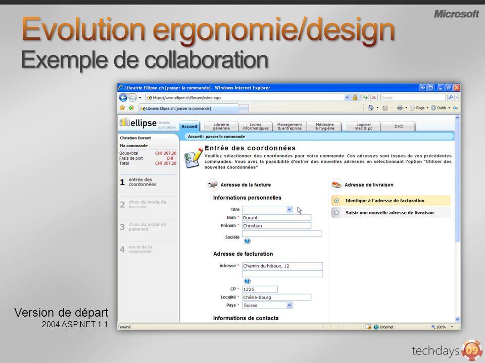 Version de départ 2004 ASP.NET 1.1