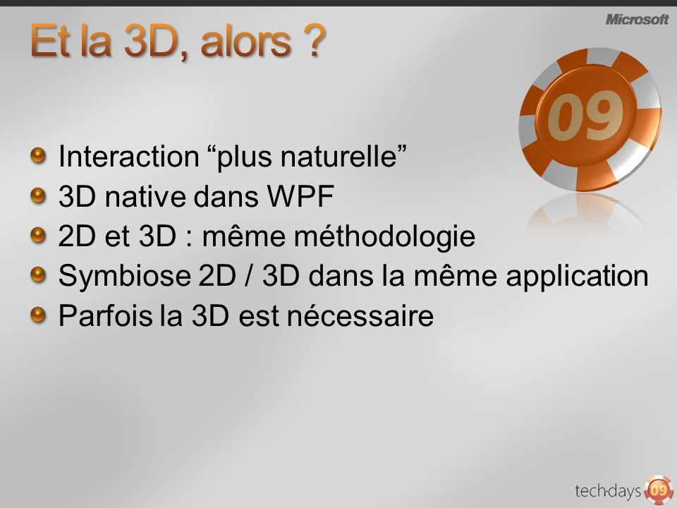 Interaction plus naturelle 3D native dans WPF 2D et 3D : même méthodologie Symbiose 2D / 3D dans la même application Parfois la 3D est nécessaire