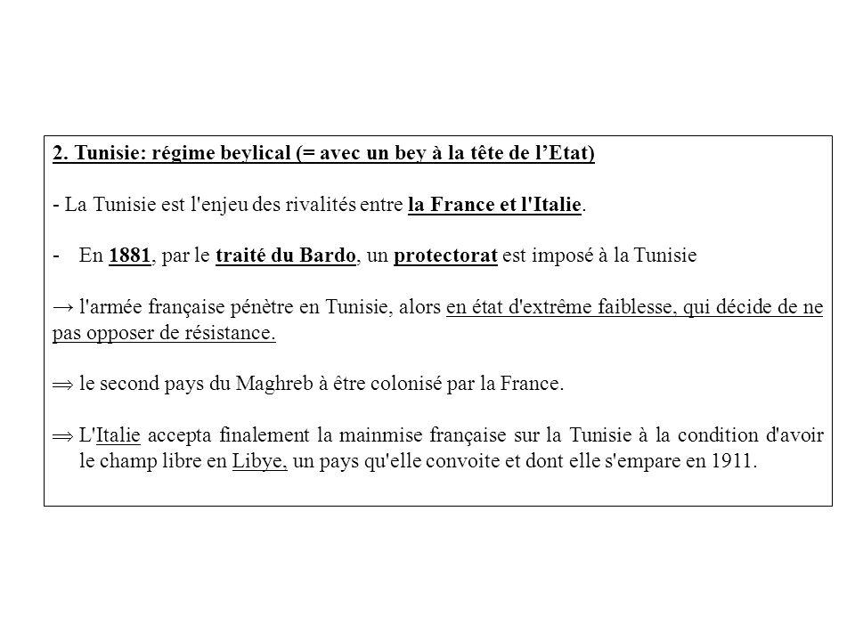 2. Tunisie: régime beylical (= avec un bey à la tête de lEtat) - La Tunisie est l'enjeu des rivalités entre la France et l'Italie. -En 1881, par le tr
