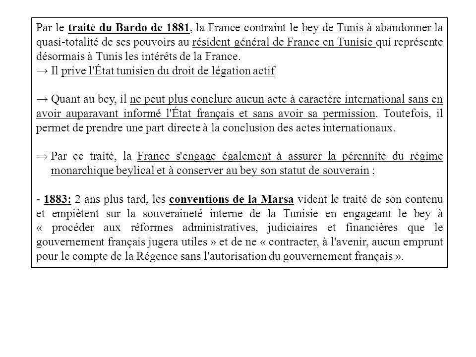 Par le traité du Bardo de 1881, la France contraint le bey de Tunis à abandonner la quasi-totalité de ses pouvoirs au résident général de France en Tu