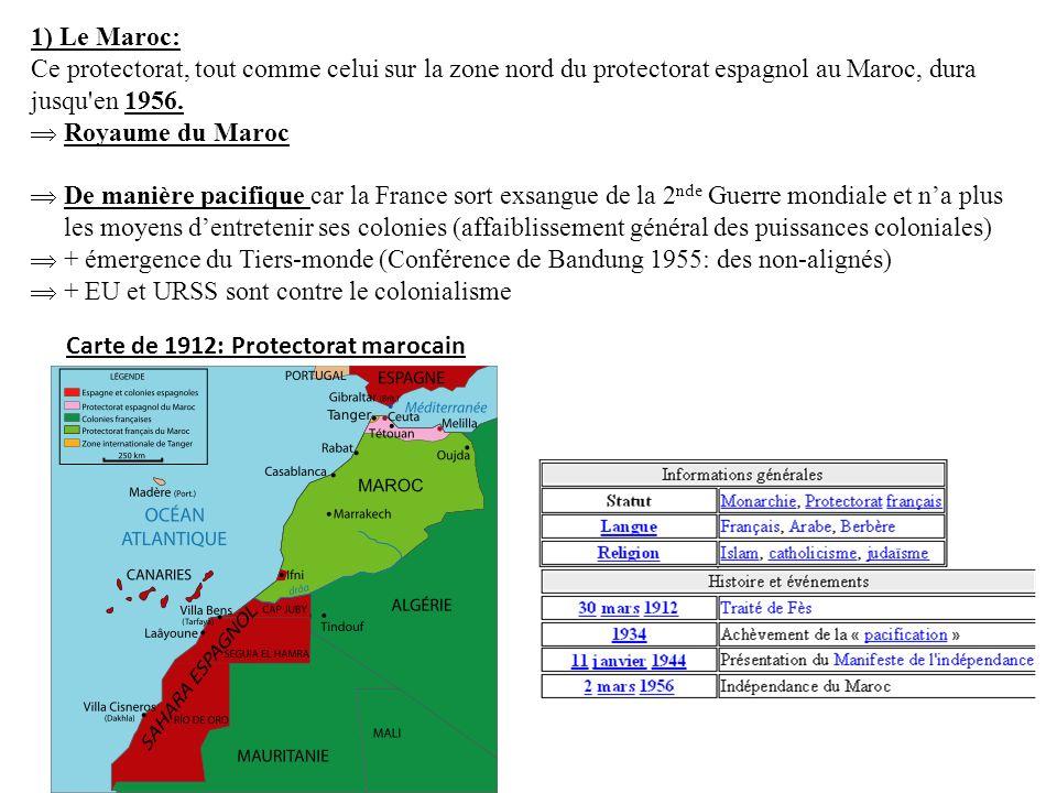 1) Le Maroc: Ce protectorat, tout comme celui sur la zone nord du protectorat espagnol au Maroc, dura jusqu'en 1956. Royaume du Maroc De manière pacif
