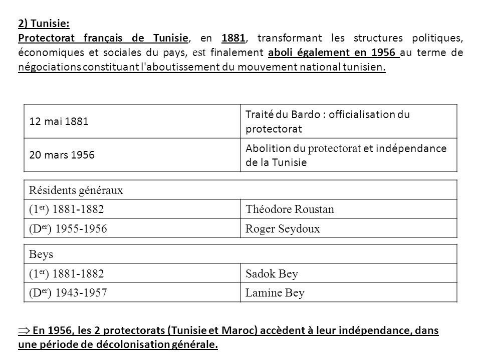 2) Tunisie: Protectorat français de Tunisie, en 1881, transformant les structures politiques, économiques et sociales du pays, est finalement aboli ég
