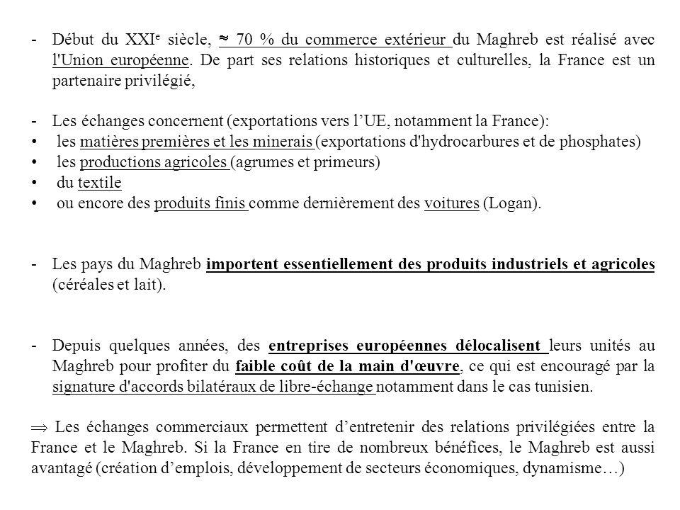 -Début du XXI e siècle, 70 % du commerce extérieur du Maghreb est réalisé avec l'Union européenne. De part ses relations historiques et culturelles, l