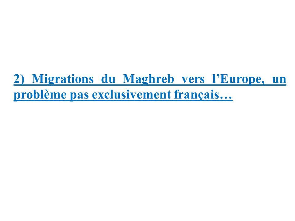 2) Migrations du Maghreb vers lEurope, un problème pas exclusivement français…